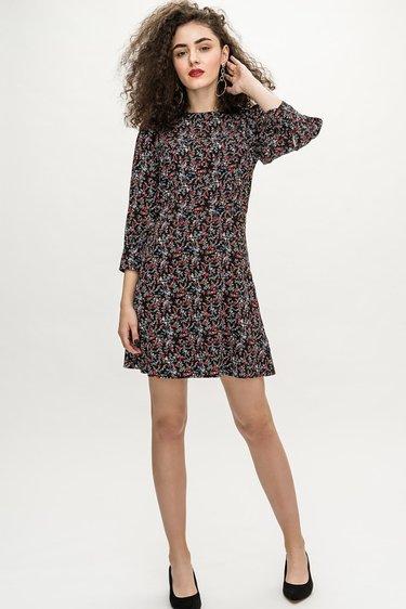 6955bbbbc45 прямое платье батал из жаккарда с цветочным принтом» — карточка ...