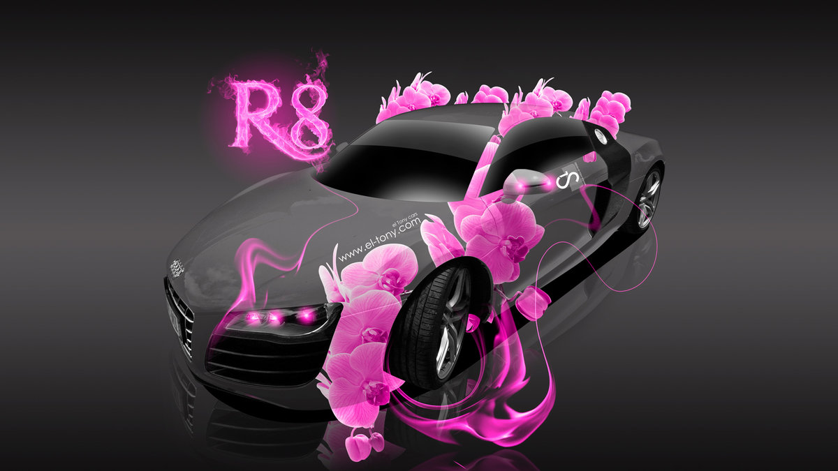 Audi R8 Fantasy Pink Flowers Fire Car 2013