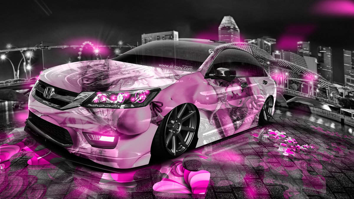 Attractive Honda Accord JDM Tuning Anime Aerography Girl City