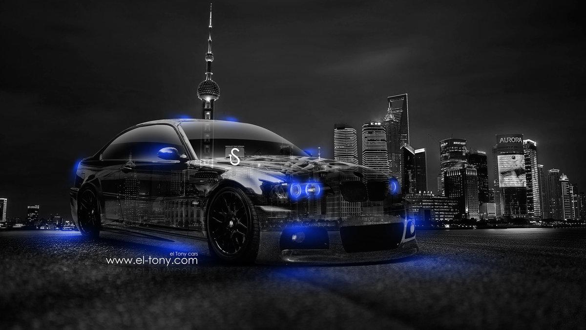 BMW M3 Crystal City Car 2014 Blue Neon