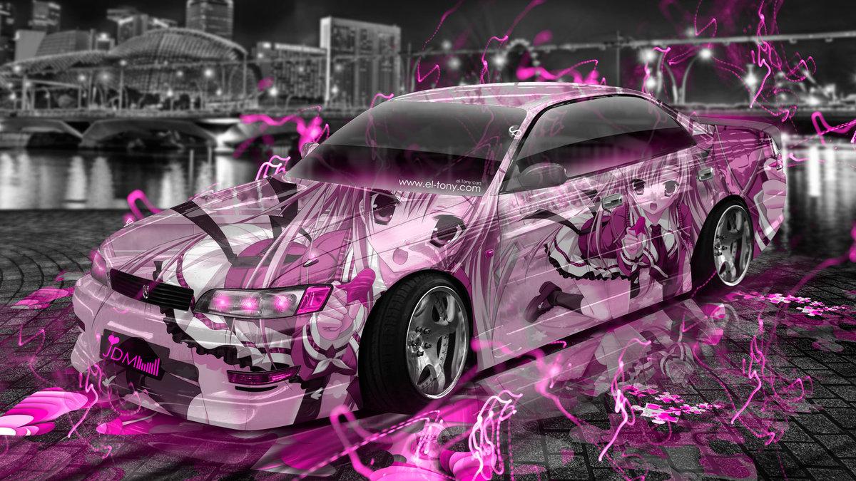 Amazing Toyota Mark2 JZX90 JDM Tuning Anime Girl Aerography