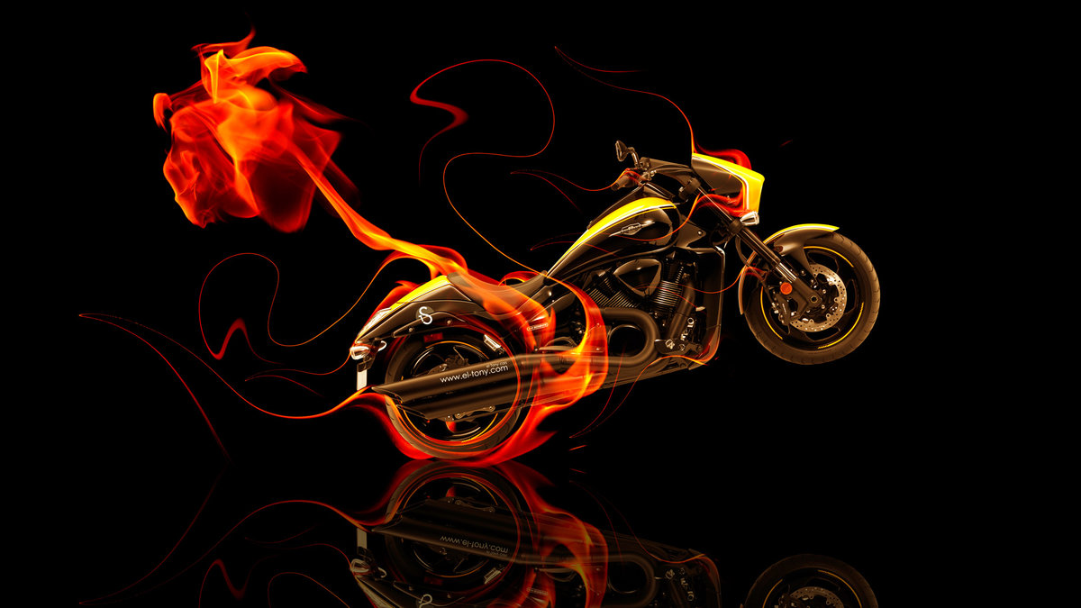 Moto Suzuki M109 Side Fire Abstract Bike 2014