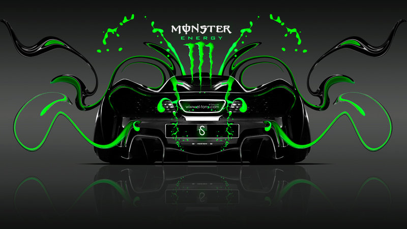 Monster Energy McLaren P1 Back Green Neon Plastic