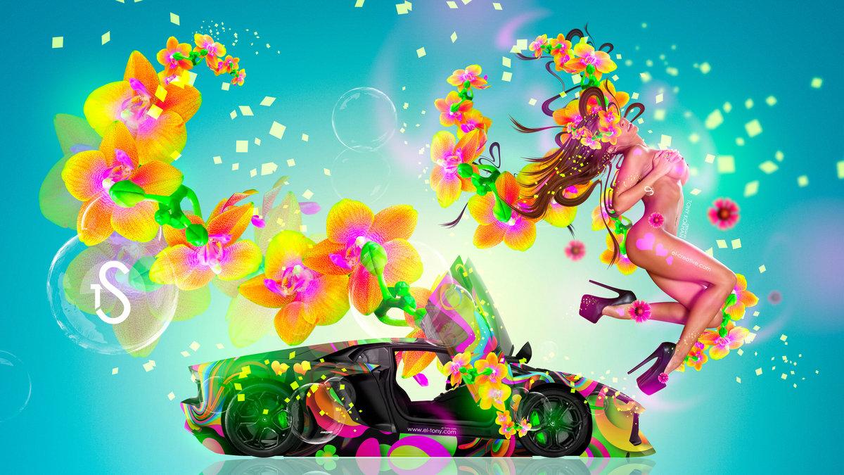 Elegant Fantasy Fly Sexy Flowers Girl Lamborghini Aventador Abstract