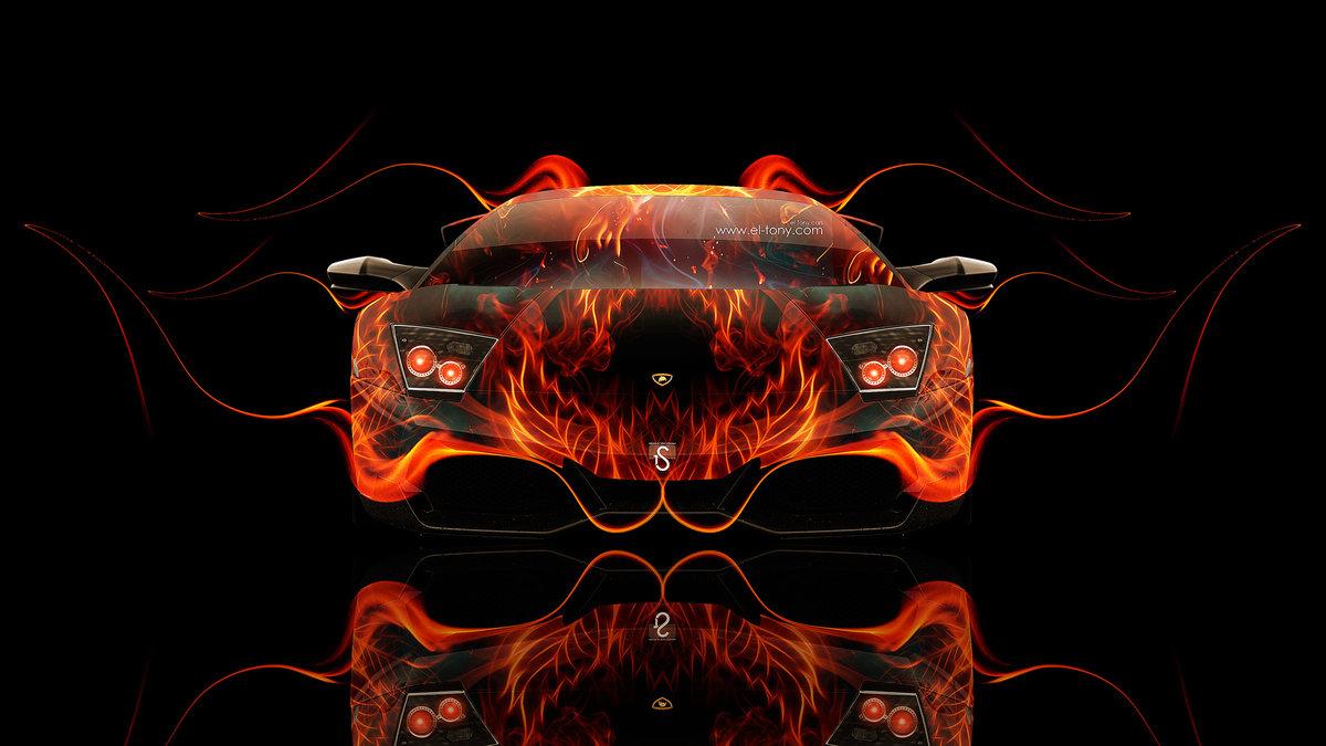 Lamborghini Murcielago Front Fire Abstract Car 2014 Design