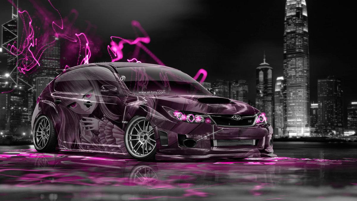 High Quality Subaru Impreza WRX STI JDM Anime Girl Aerography