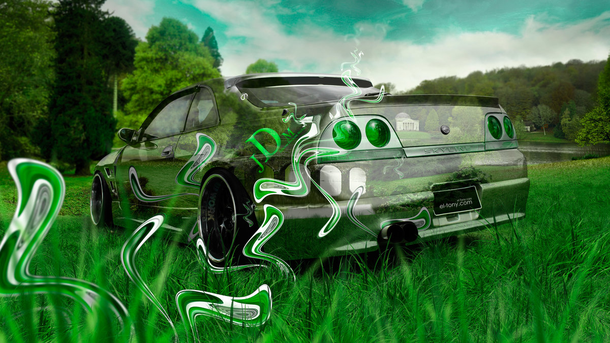 Attractive Nissan Skyline R33 JDM Tuning Back 3D Crystal