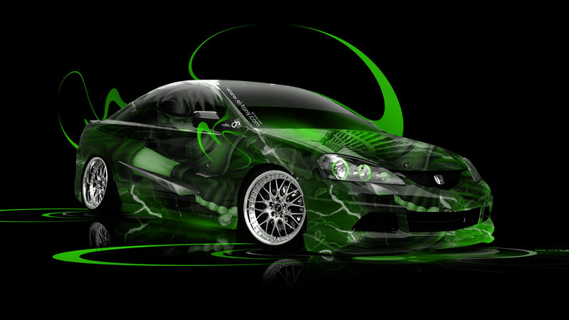 Perfect Honda Integra JDM Anime Aerography Car 2014 Green