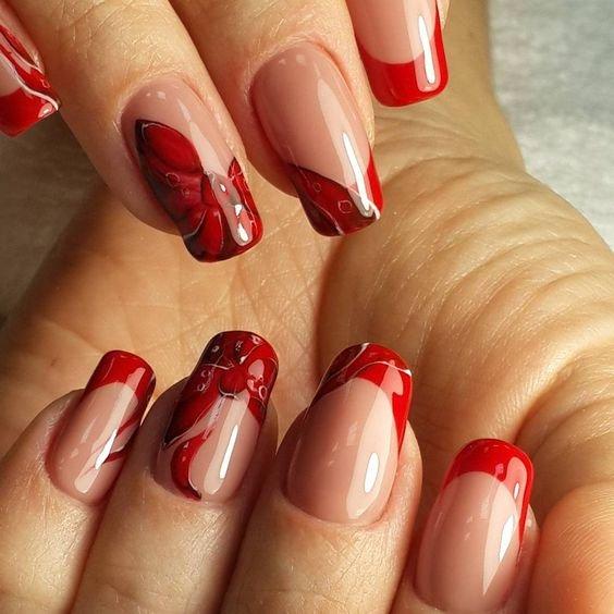 мой фото и картинки ногтей с красным френчем фото златан