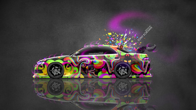 Toyota Mark2 JZX90 JDM Tuning Side Abstract Aerography