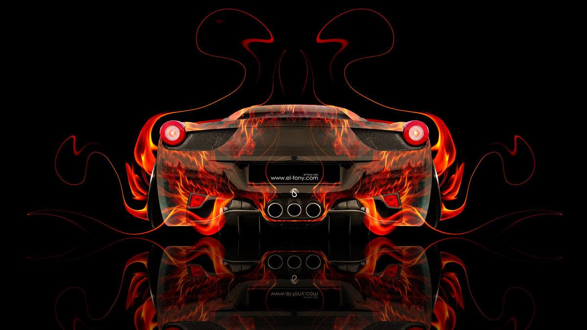 Exceptional Ferrari 458 Italia Back Fire Abstract Car 2014