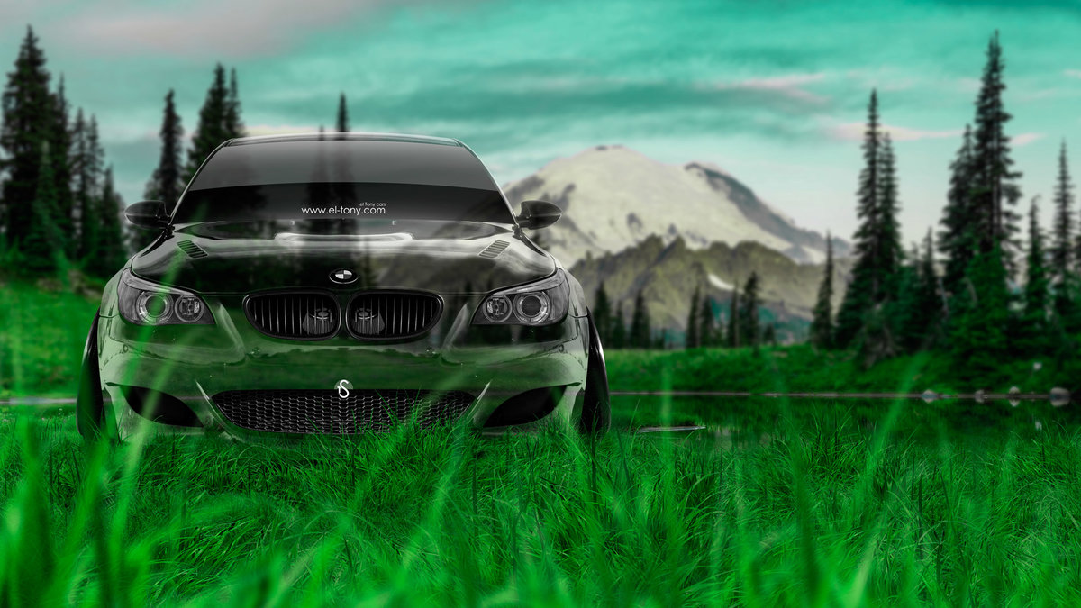 BMW M5 Front Crystal Nature Car 2014 HD