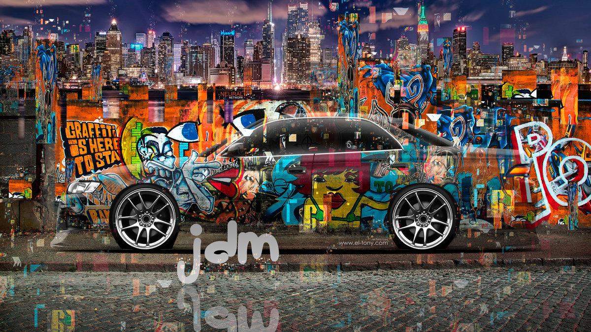 Toyota Mark2 JZX90 JDM Tuning Graffiti Crystal City