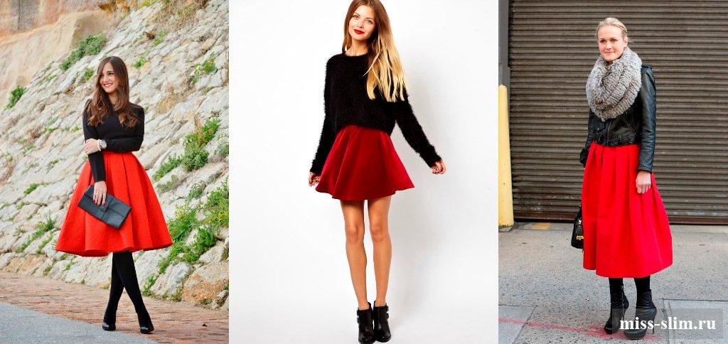 Девушка в красной юбке и черных колготках — photo 10