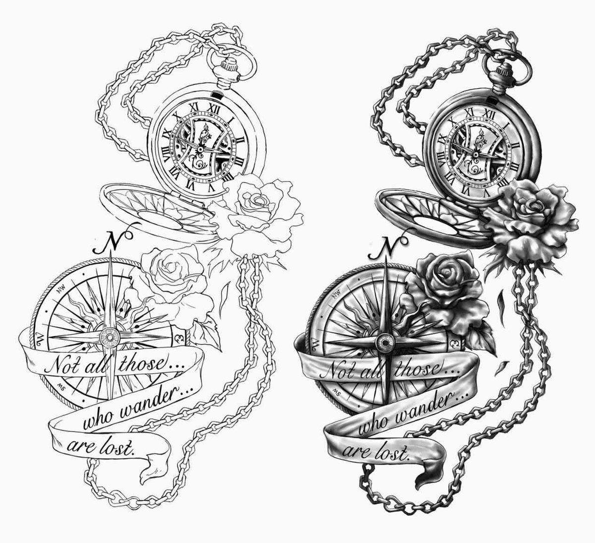 Крутой рисунок компаса с кораблем на предплечье парня.