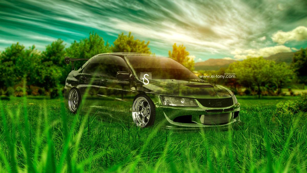 Superb Mitsubishi Lancer Evolution 8 JDM Crystal Nature Car