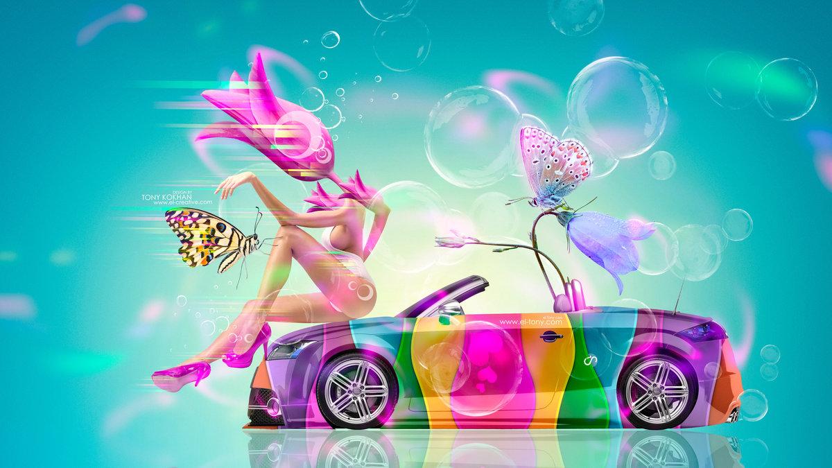 Fantasy Flower Girl Mix Art Audi TT Roadster