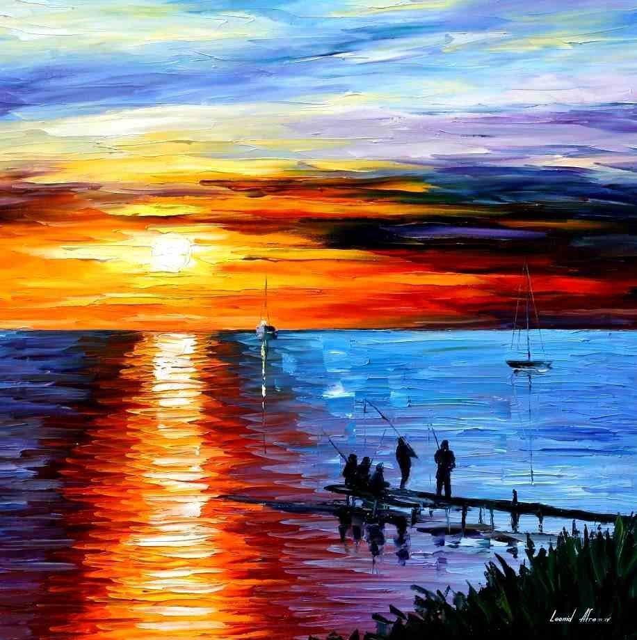 Целую, закат на море картинки красками