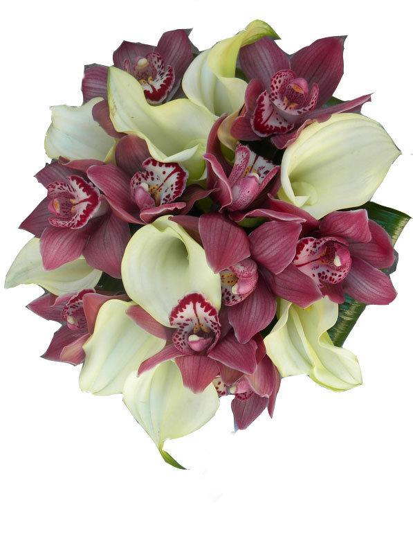 Цветов, букет свадебный орхидей калл