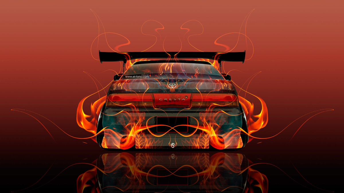 Toyota Cresta JZX90 Tuning JDM Back Fire Abstract