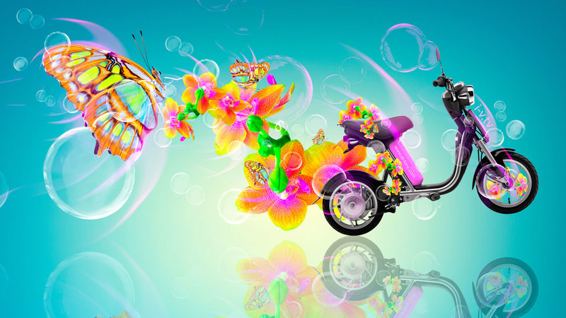 Fantasy Glamour Mini Moto Butterfly Flowers Bike 2015