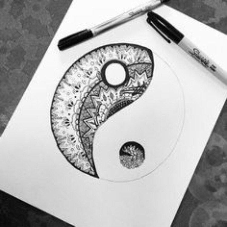 Картинки, прикольные рисунки черной гелевой ручкой для срисовки