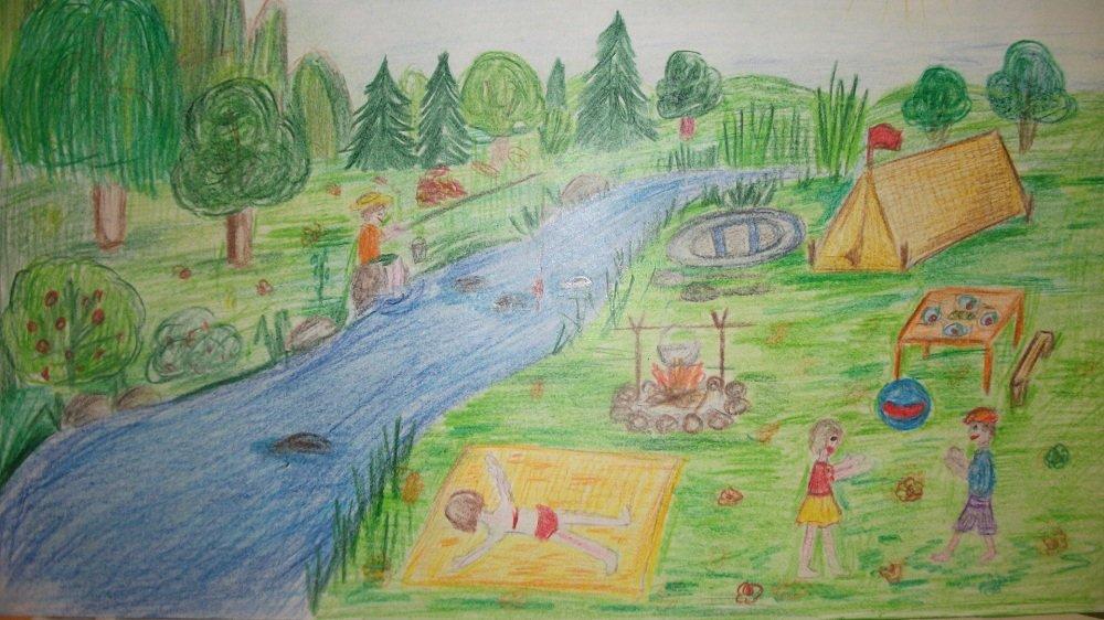 рабочей рисунок отдыха на природе карандашом ваша девочка