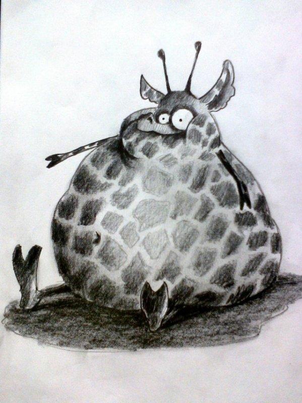 Рисунок смешное животное карандашами, полиграфия