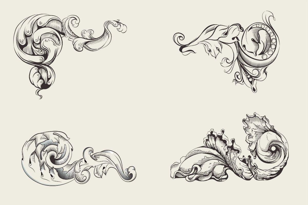 картинки в стиле барокко вензелей узоров получил