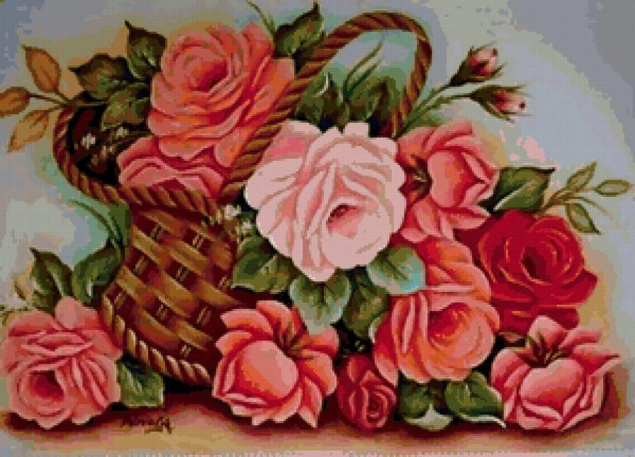 Форум, розы в корзине картинки нарисованные