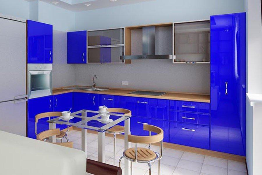 дизайн кухни в синем цвете фото того