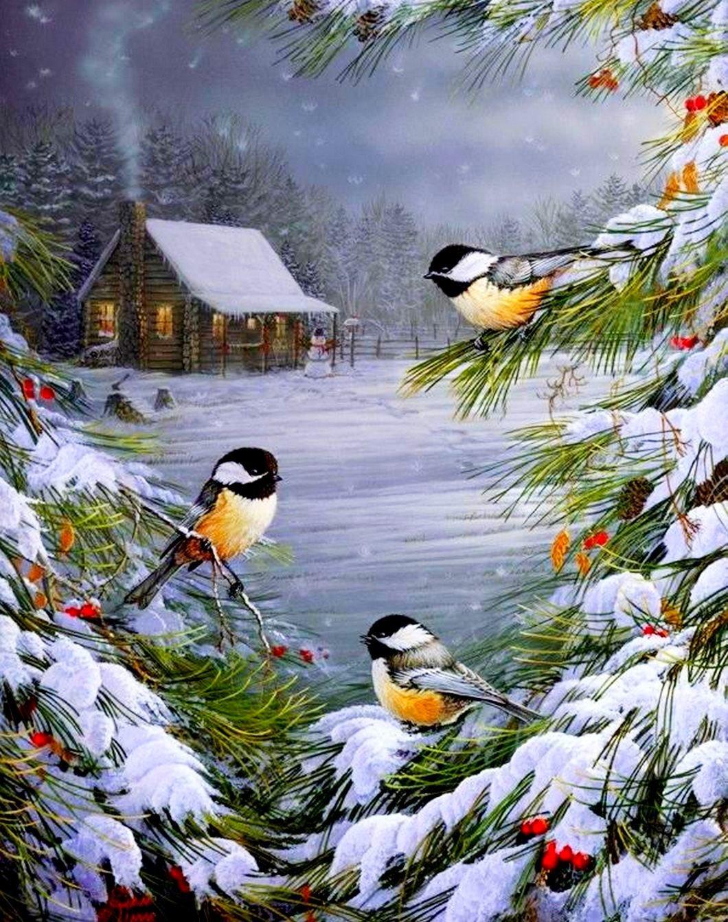 красивые зимние открытки картинки для вставки этой