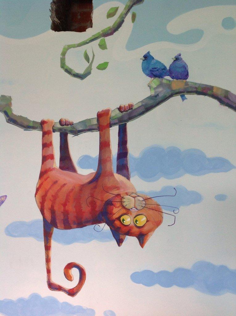 Смешной рисунок на стену