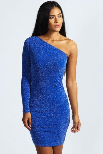 829be20716b Обтягивающее синее асимметричное вечернее платье с одним рукавом и блестками
