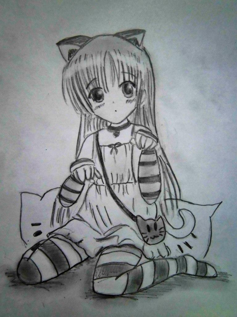 Рисунки аниме девочек кошек карандашом красивые и оригинальные полностью