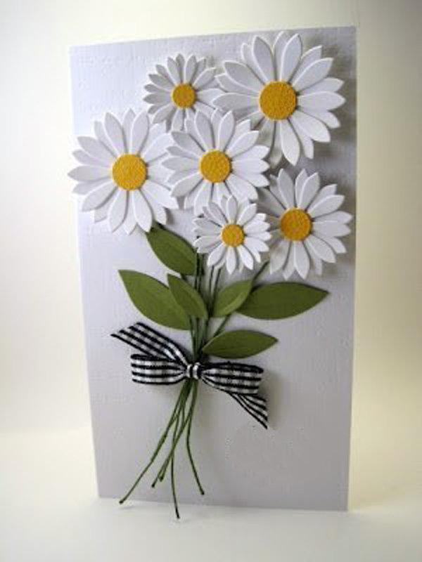 Открытки своими руками с цветами из бумаги, днем рождения
