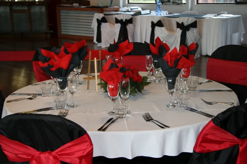 Red Black And White Wedding Reception
