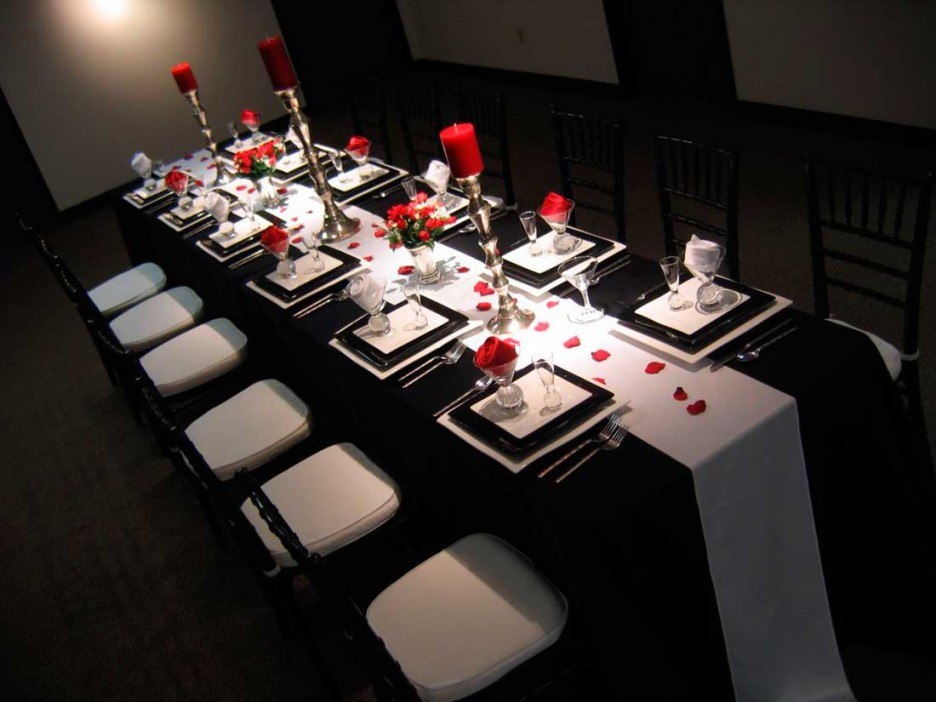 Decoration Ideas Exciting Image Of Dining Room Using White Leather Chair Including Black Wedding Table Cloth And Red Rose