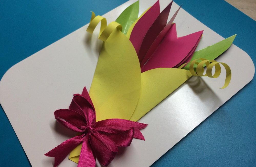 Как сделать очень красивую открытку для мамы из бумаги, открытки