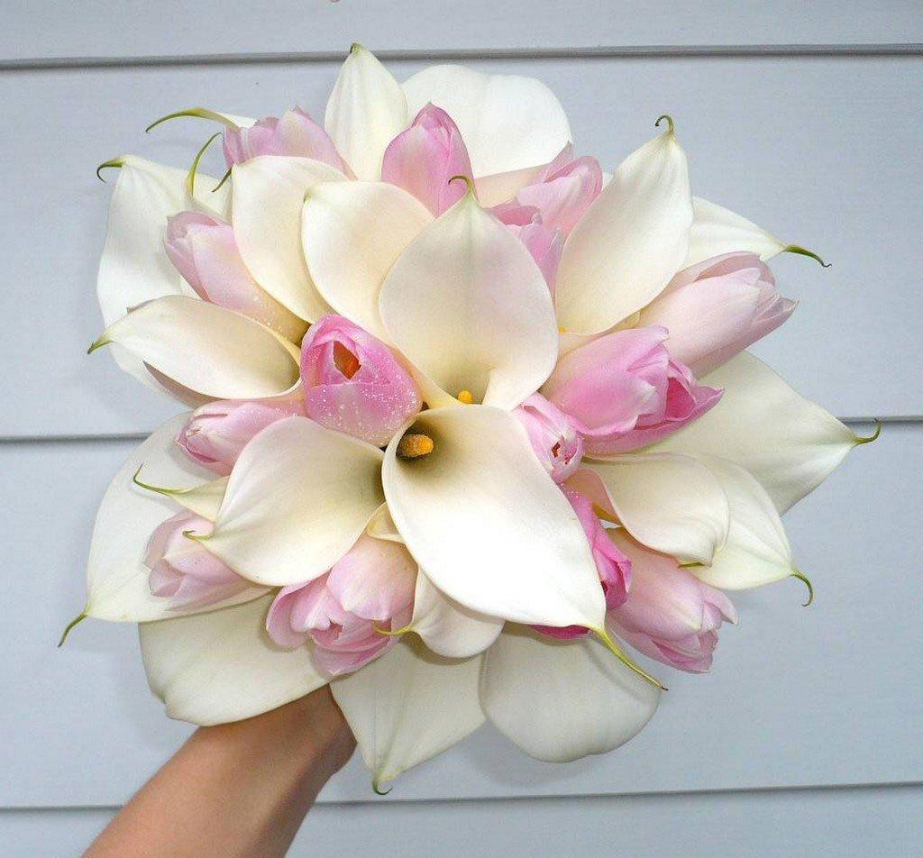 Букет невесты розовые каллы, букеты
