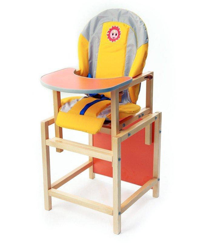 детские стульчики для кормления деревянный с яркой спинкой