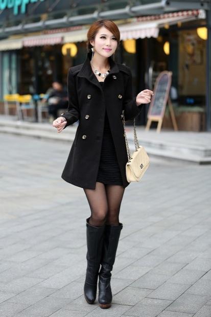 фото пальто короткое черное