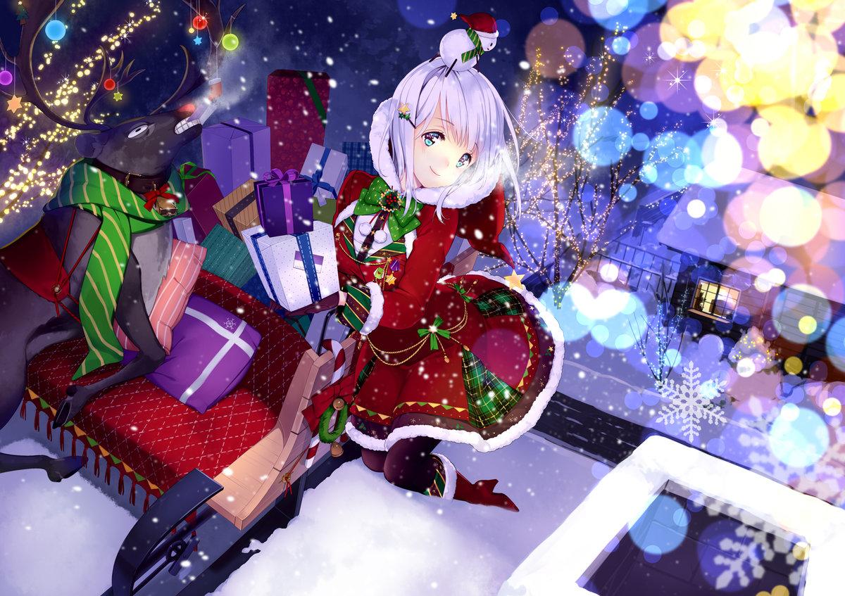 Новогоднее аниме картинки