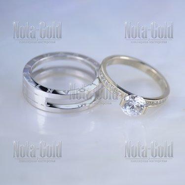 29c02cd362e7 Разборные обручальные кольца с бриллиантами и гравировкой имён на ...