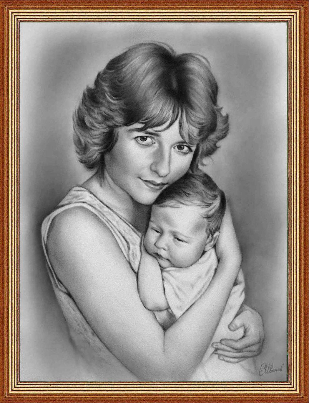 Картинки мама и ребенок как рисовать