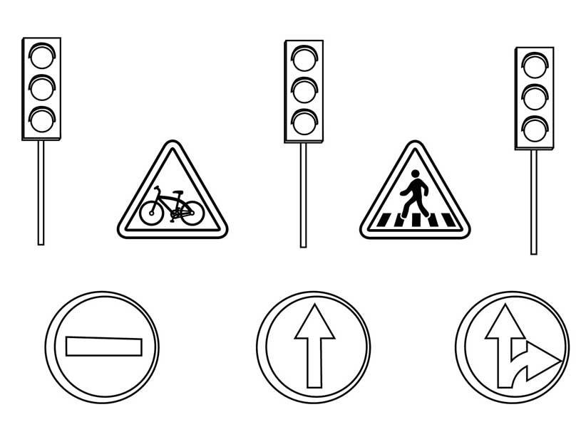 Картинки для раскраски знаки дорожного движения