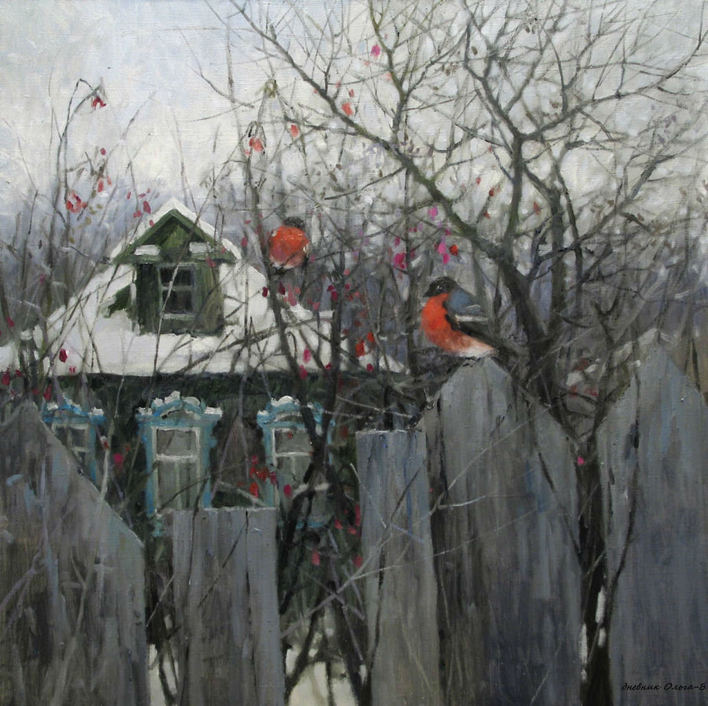 Савченко Алексей Александрович. в гости Птицы зимой.( живопи