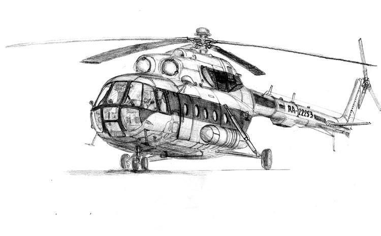 Рисунок вертолета карандашом