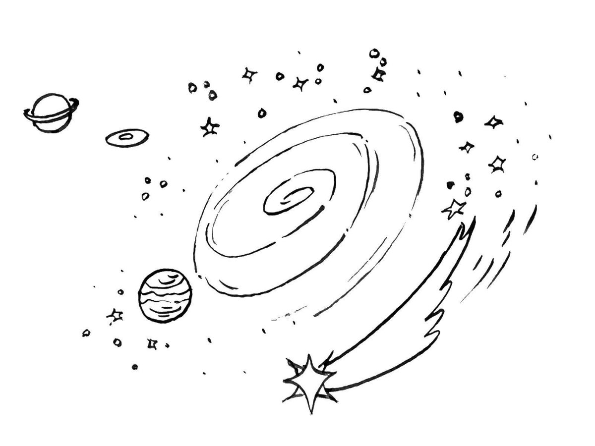 Картинка галактики в карандаше