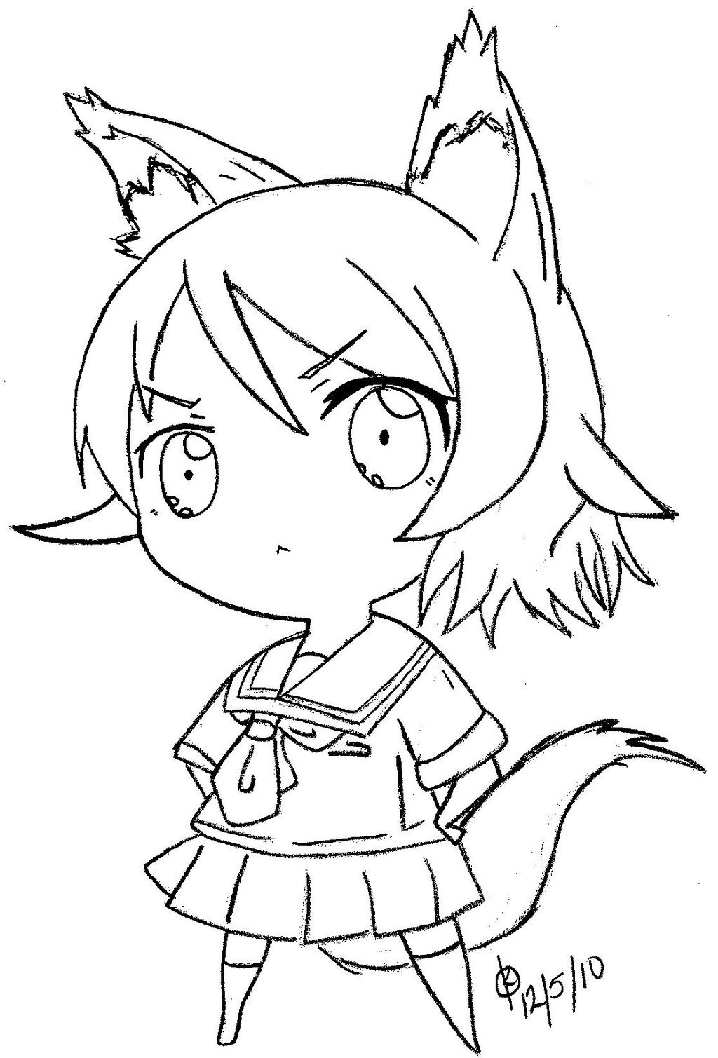 16 Images Of Anime Wolf Girl Chibi Coloring Pages Cute Ani Card